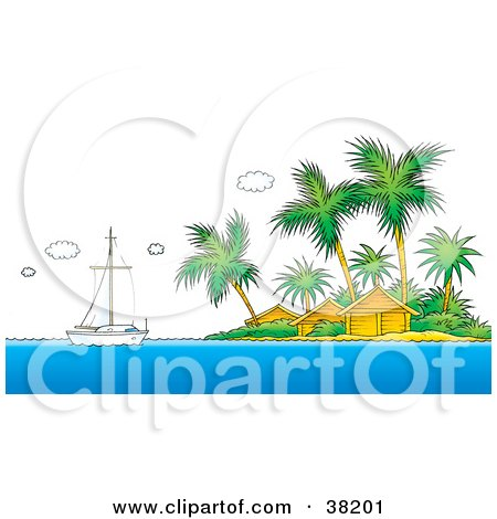 Clipart Illustration of a Sailboat Near A Tropical Island With Resort Huts by Alex Bannykh