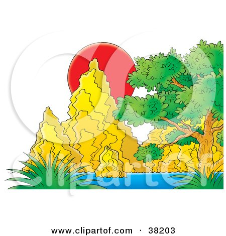 Clipart Illustration of a Red Sunset Behind Rock Formations And Plants by Alex Bannykh