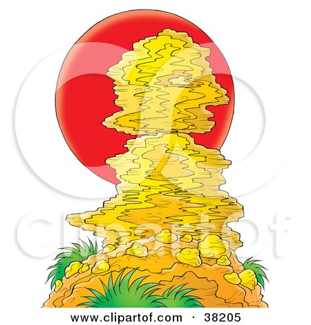 Clipart Illustration of a Red Sun Setting Behind A Tall Rock Formation by Alex Bannykh