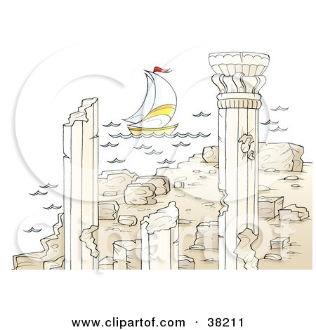 Clipart Illustration of a Sailboat Near Ancient Architectural Ruins With Columns by Alex Bannykh