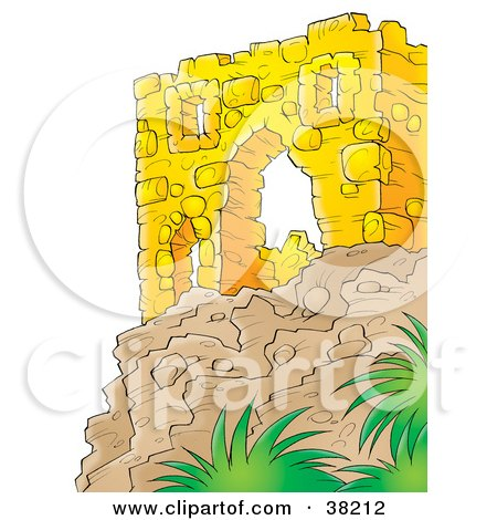 Clipart Illustration of a Wall Of Ancient Ruins On Top Of A Cliff by Alex Bannykh