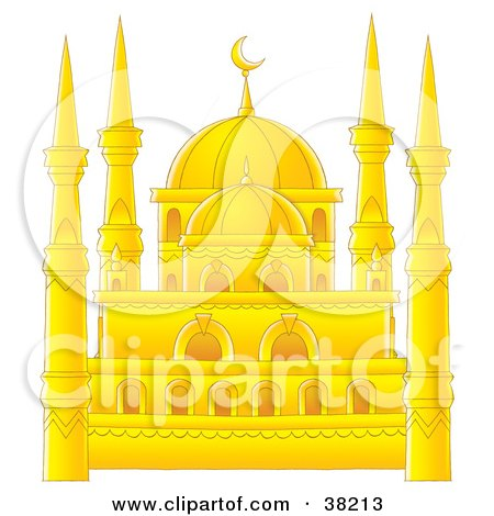Clipart Illustration of a Beautiful Golden Mosque by Alex Bannykh