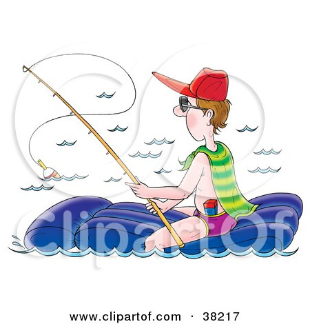 Clipart Illustration of a Man Sitting On A Float And Fishing by Alex Bannykh