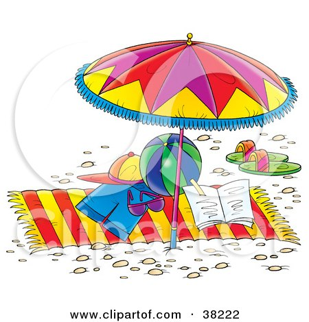 Clipart Illustration of Clothes, Toys And Sandals On A Beach Towel Under An Umbrella by Alex Bannykh
