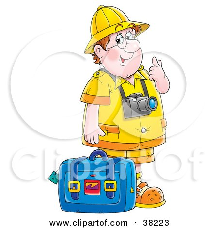 Clipart Illustration of a Friendly Chubby Male Tourist Wearing A Camera And Standing With Luggage by Alex Bannykh