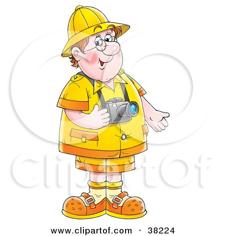 Clipart Illustration of a Friendly Chubby Male Tourist With A Camera Around His Neck by Alex Bannykh