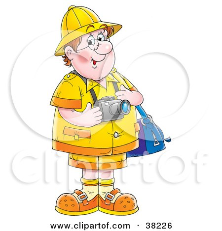 Clipart Illustration of a Happy Male Tourist With A Bag And Camera by Alex Bannykh