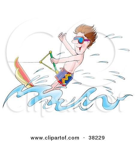 Clipart Illustration of a Man Water Skiing And Having A Blast by Alex Bannykh