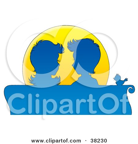 Clipart Illustration of a Couple Gazing At Each Other, Silhouetted In Blue While Sitting On A Bench At Sunset by Alex Bannykh