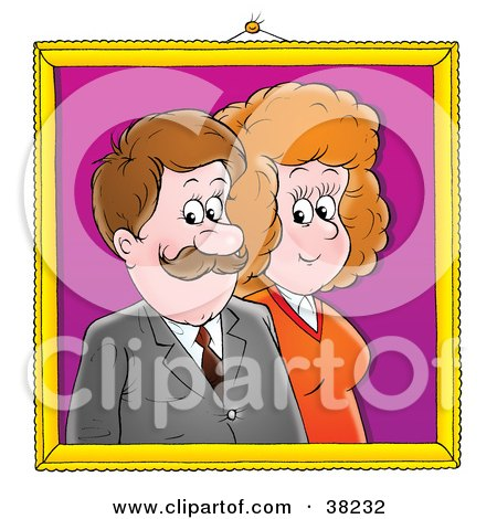 Portrait Of A Happy Couple With Gold Frame