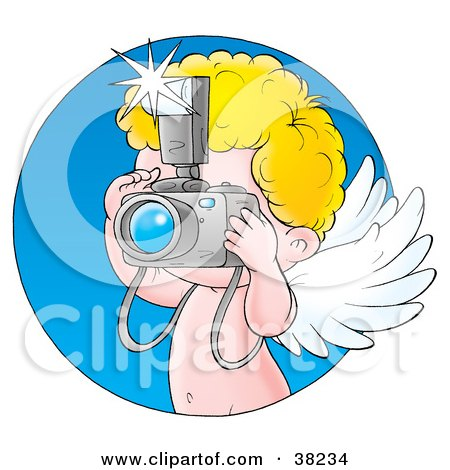 Clipart Illustration of Cupid Taking Pictures With A Camera, With A Blue Circle by Alex Bannykh