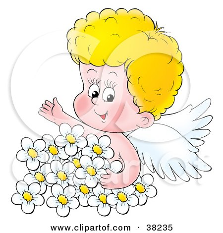 Clipart Illustration of a Blond Angel Surrounded By White Daisies by Alex Bannykh