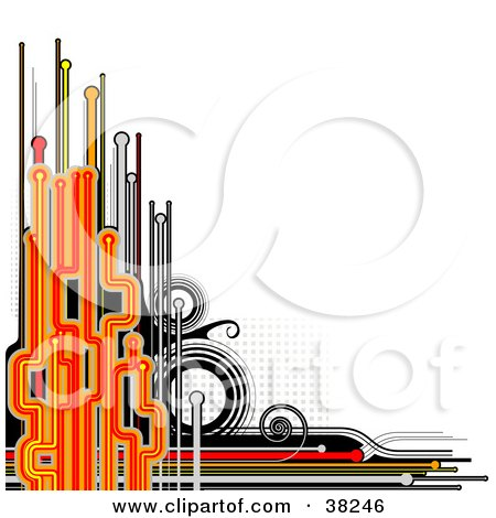 Clipart Illustration of an Abstract Black, Orange And Red Background With Circles, Lines And Dots, Over White by dero