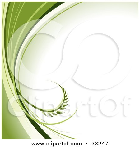 Clipart Illustration of a White Background With A Curling Leaf Emerging From Waves Of Green Along The Left Edge by dero