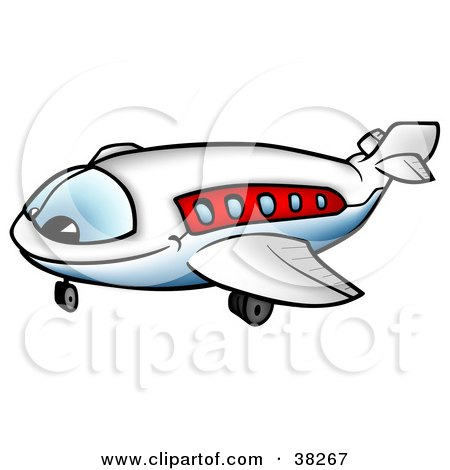 Clipart Illustration of a Happy White And Red Airliner Character Smiling by dero