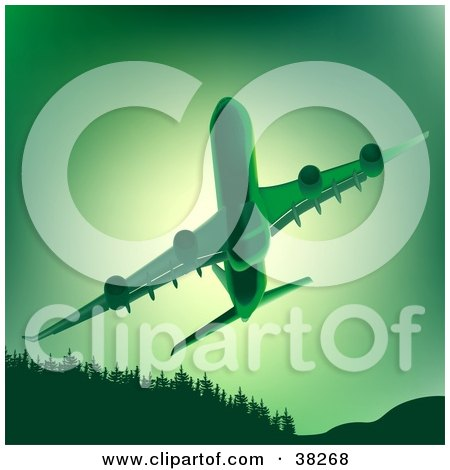 Clipart Illustration of a Commercial Airliner Flying Upwards Over Trees, In Green Tones by dero