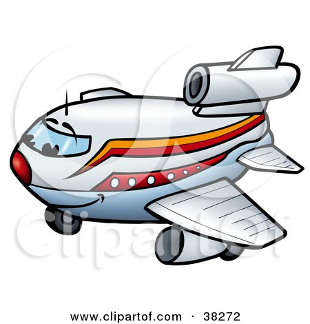 Clipart Illustration of a Happy White, Orange And Red Commercial Airliner Character Smiling by dero