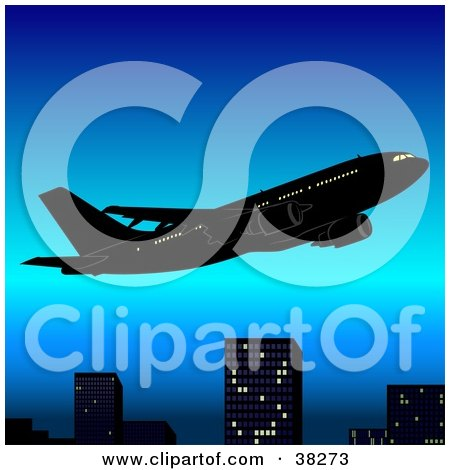 Clipart Illustration of a Plane Flying Above City Skyscrapers In A Blue Sky by dero