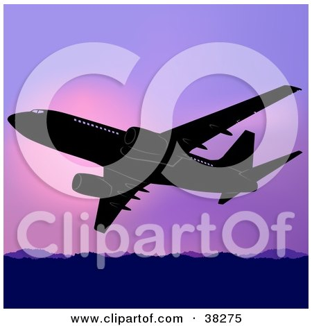 Clipart Illustration of a Commercial Airplane Flying Above Mountains Against A Purple Sunset by dero