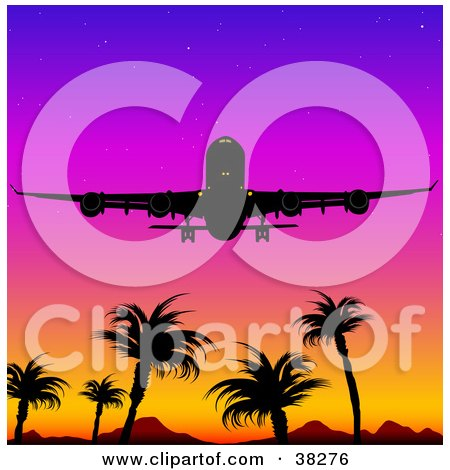 Clipart Illustration of a Silhouetted Airplane Flying Above Mountains And Palm Trees Against A Colorful Sunset Sky by dero