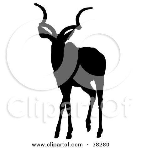 Clipart Illustration of a Black Silhouette Of An Alert Antelope With Curly Antlers by dero