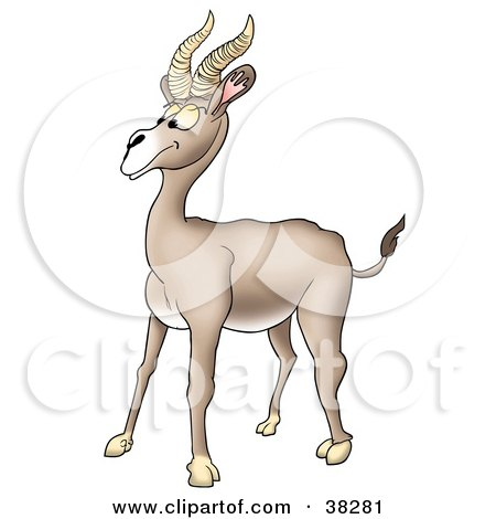 Clipart Illustration of a Goofy Beige Antelope With Thick Antlers by dero