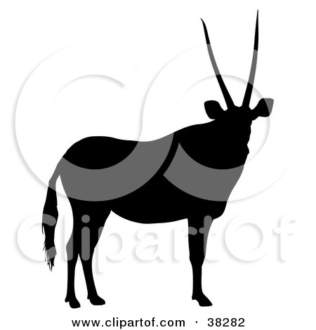 Clipart Illustration of a Black Silhouette Of A Relaxed Antelope With Straight Antlers by dero