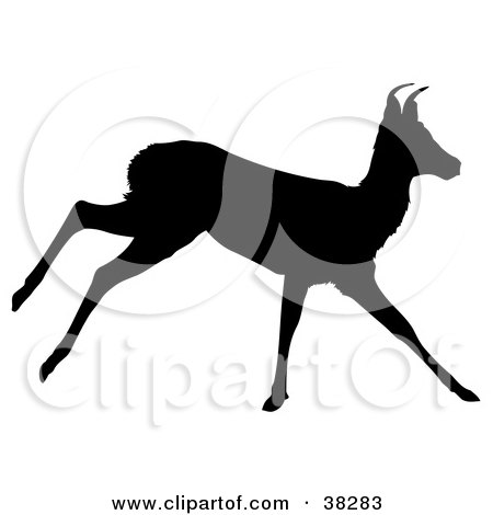 Clipart Illustration of a Black Silhouette Of A Running Antelope by dero