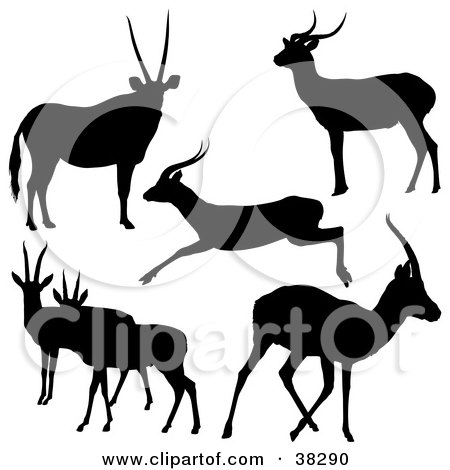 Clipart Illustration of Six Silhouetted Antelope In Black by dero