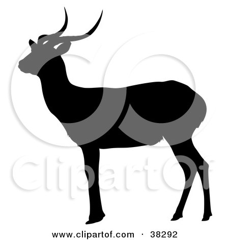 Clipart Illustration of a Black Silhouette Of A Gazing Antelope by dero