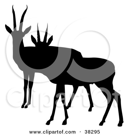 Clipart Illustration of a Black Silhouette Of Two Alert Antelopes by dero
