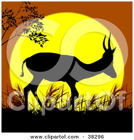 Clipart Illustration of a Lone Antelope Walking In Grass, Silhouetted Against A Yellow And Orange Sunset by dero