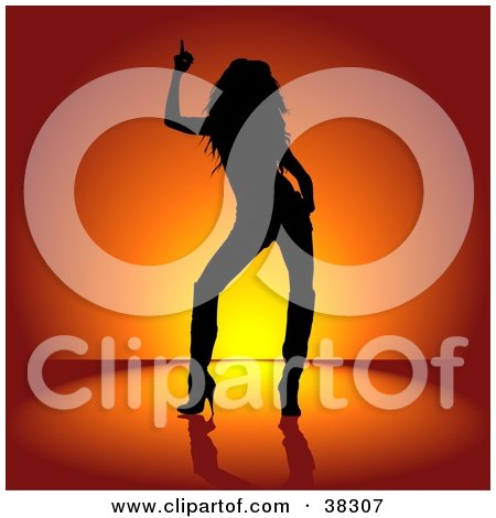 Clipart Illustration of a Black Silhouetted Rocker Chick In Heeled Boots, Dancing Over A Red And Orange Background by dero