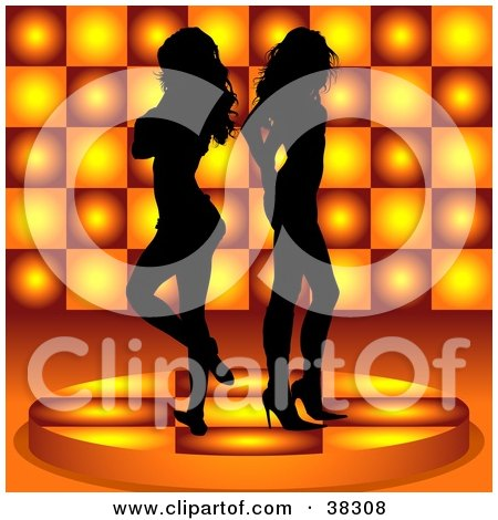 Clipart Illustration of Two Sexy Black Silhouetted Women Standing Back To Back On A Platform, Over An Orange Circle Patterned Background by dero