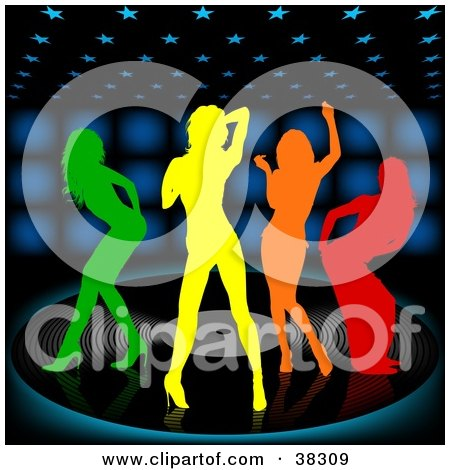 Clipart Illustration of Four Colorful Silhouetted Women Dancing On A Large Vinyl Record Over A Black Background With Blue Lights by dero