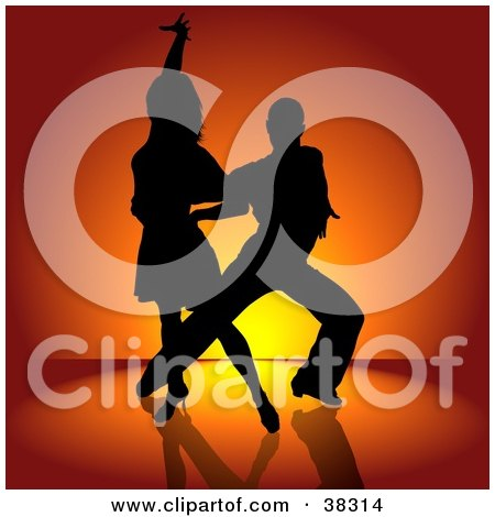 Clipart Illustration of a Sexy Black Silhouetted Couple Engaged In A Latin Dance by dero
