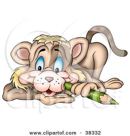 Clipart Illustration of a Brown Cat Poking His Cheek With A Green Color Pencil by dero
