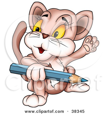 Clipart Illustration of a Friendly Cat Holding A Blue Color Pencil And Waving by dero