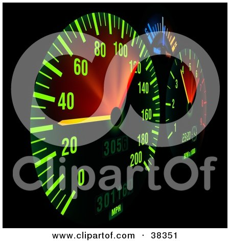 Clipart Illustration of an Illuminated Dash Board Panel by dero