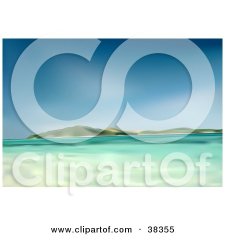 Clipart Illustration of a Sea Of Clear Blue Waters Near Hills Under A Blue Sky by dero