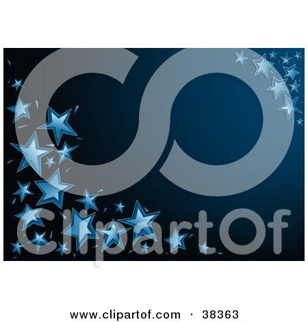 Clipart Illustration of a Dark Blue Background With The Corners Adorned In Blue Stars by dero