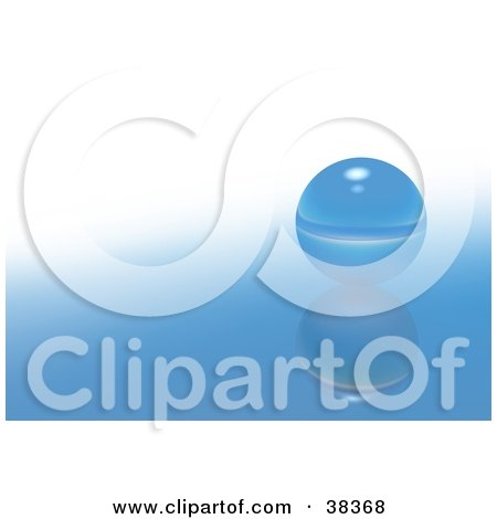 Clipart Illustration of a Gradient Blue And White Reflective Background With A Single Glass Marble by dero