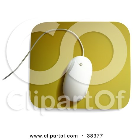 Clipart Illustration of a White MAC Computer Mouse On A Yellow Mousepad by dero