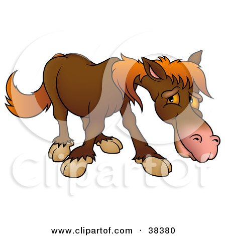 Clipart Illustration of a Shy Brown Horse With Orange Hair by dero