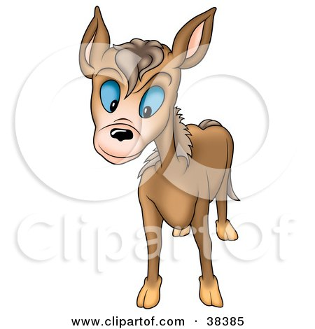 Clipart Illustration of a Curious Brown Burro With Blue Eyes by dero