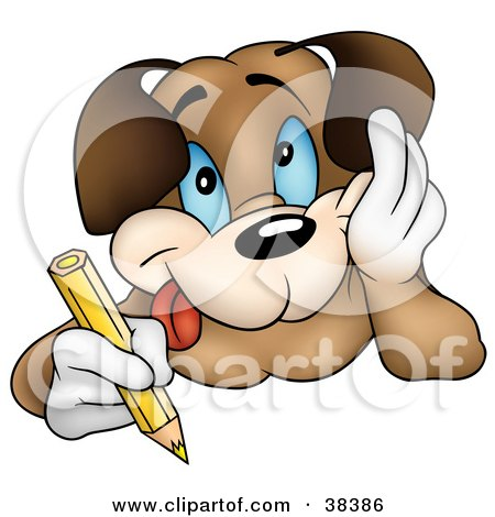 Clipart Illustration of a Happy Dog Resting His Cheek In His Hand And Coloring With A Yellow Colored Pencil by dero