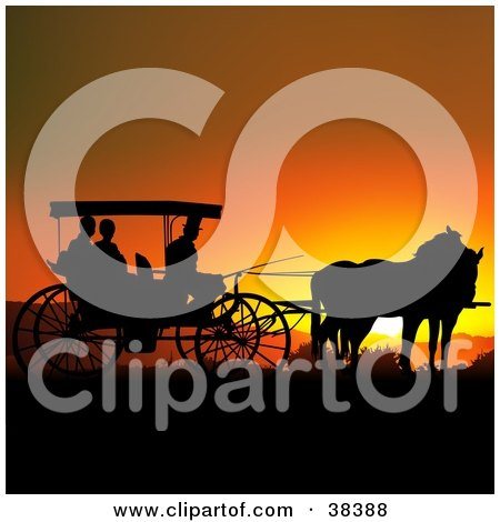 Royalty-free clipart picture of people in a horse drawn carriage,