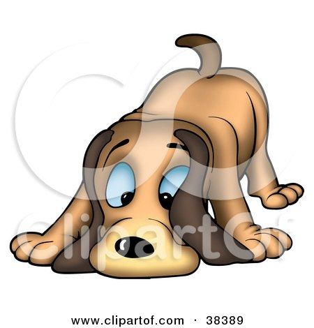 Clipart Illustration of a Blue Eyed Hound Dog Sniffing The Ground by dero