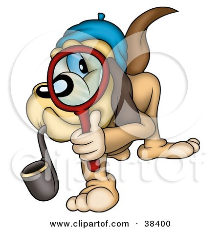 Clipart Illustration of a Detective Dog Smoking A Pipe And Peering Through A Magnifying Glass by dero