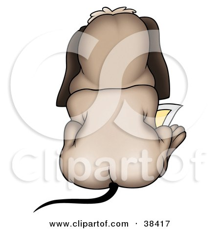 Clipart Illustration of a Rear View Of A Dog Sitting And Reading by dero